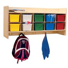 Wall Mountable Coat Locker & Cubby Storage Unit with 10 Assorted Color Trays - Assembled - 46.75