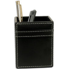 Rustic Leather Pencil Cup - Black