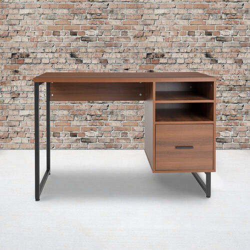 Lincoln Collection Computer Desk in Rustic Wood Grain Finish