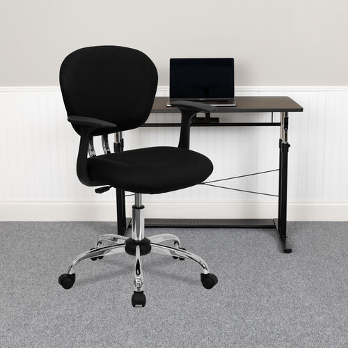 Mid-Back Mesh Padded Swivel Task Office Chair with Chrome Base and Arms