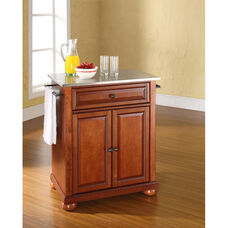 Stainless Steel Top Portable Kitchen Island with Alexandria Feet - Classic Cherry Finish