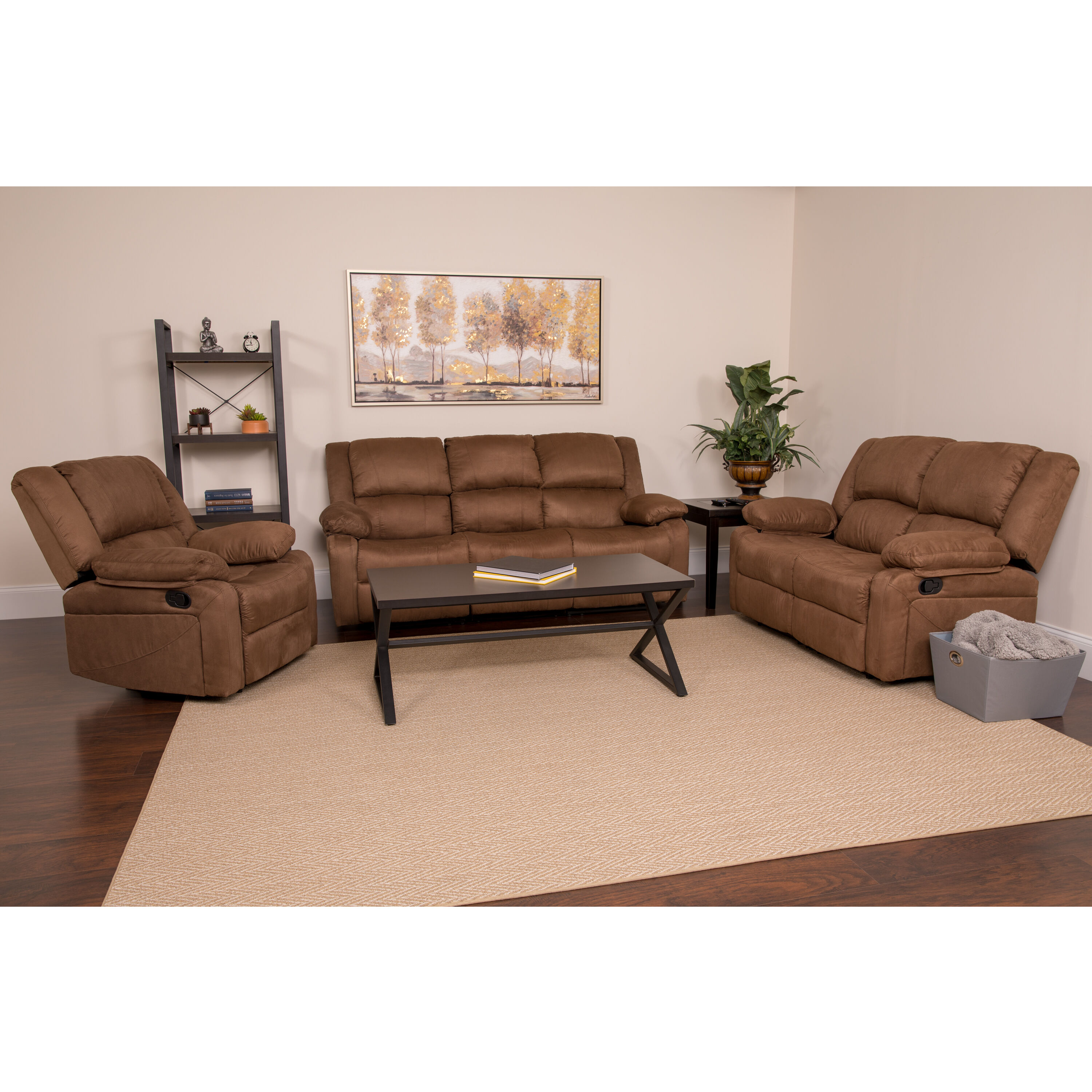 Our Harmony Series Chocolate Brown Microfiber Reclining Sofa Set Is On Sale  Now.
