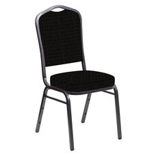 Embroidered Crown Back Banquet Chair in Jewel Onyx Fabric - Silver Vein Frame
