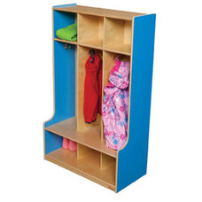 Blueberry 3-Section Seat Lockers with Two Coat Hooks in Each Section - Assembled - 30