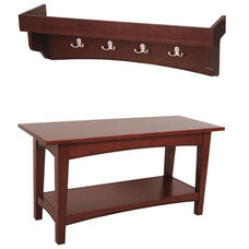 Shaker Cottage Hall Tree Set with Tray Top and Open Bench - Cherry