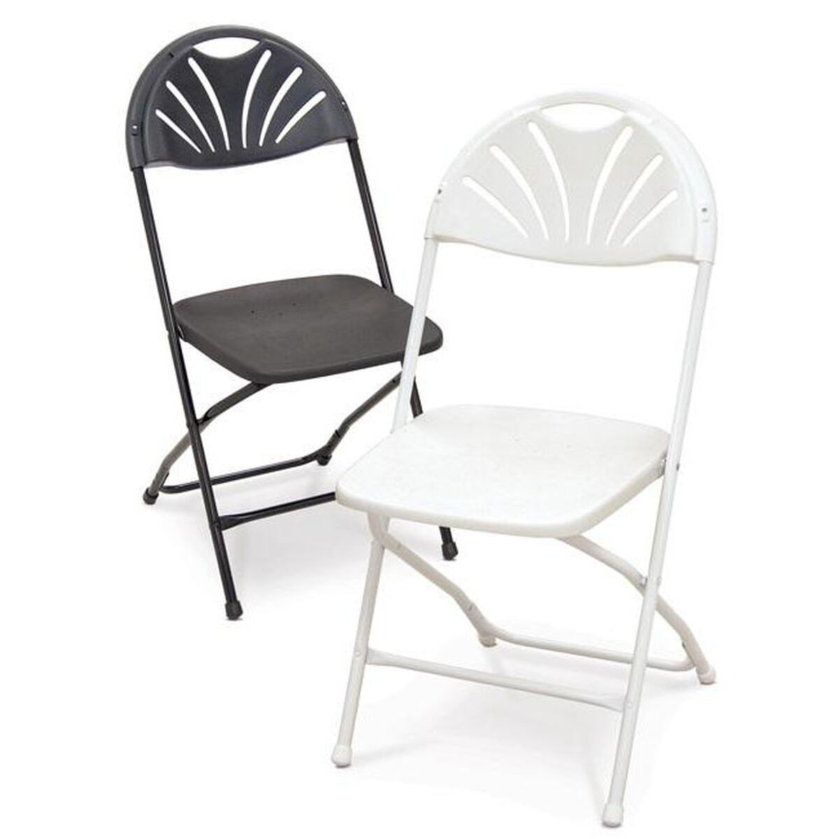 Strange Series 5 Steel Frame Stackable Fanback Folding Chair With Polypropylene Seat And Back White Uwap Interior Chair Design Uwaporg