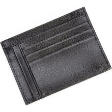 RFID Blocking Slim Card Case Wallet - Saffiano Genuine Leather - Black