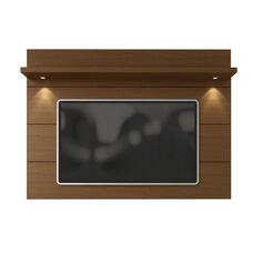 Cabrini 1.8 Front Panel TV Mount with Overhead LED Lights and Shelf - Nut Brown