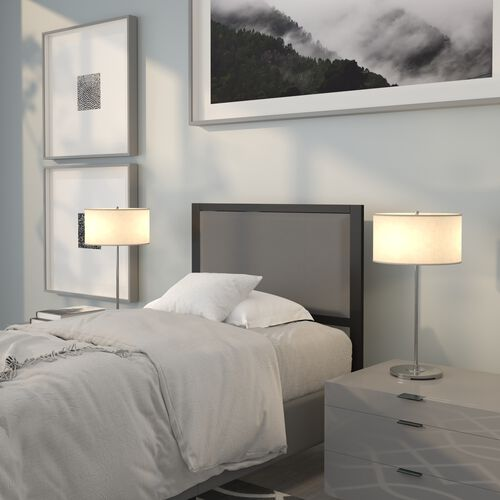 Melbourne Metal Upholstered Twin Size Headboard in Dark Gray Fabric