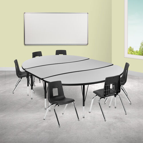 """86"""" Oval Wave Collaborative Laminate Activity Table Set with 14"""" Student Stack Chairs, Grey/Black"""