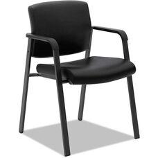 Basyx® VL605 Series Leather Wall-Saver Guest Arm Chair - Matte Black