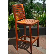Malibu Outdoor Wood Bar Chair with Ladder Back and Wide Footrest
