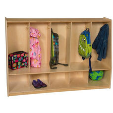 Tip-Me-Not Tot Lockers with Ten Single Coat Hooks - Assembled - 54