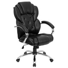High Back Transitional Style Black Leather Executive Swivel Chair with Arms