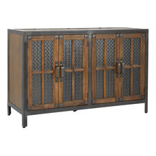 Inspired By Bassett Barcelona 4 Door Console in Alder finish with Rustic Metal