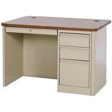 900 Series 48'' x 30'' Single Pedestal Heavy Duty Teachers Desk - Putty Base with Medium Oak Top