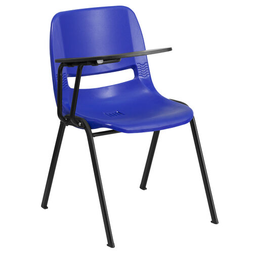 Our Blue Ergonomic Shell Chair with Right Handed Flip-Up Tablet Arm is on sale now.
