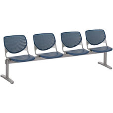 2300 KOOL Series Beam Seating with 4 Poly Perforated Back and Seats with Silver Frame - Navy
