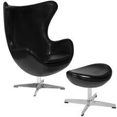 Black Leather Egg Chair with Tilt-Lock Mechanism and Ottoman