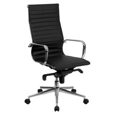 High Back Black Ribbed Leather Executive Swivel Chair with Knee-Tilt Control and Arms