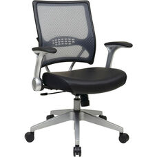 Space Light Air Grid® Back and Bonded Leather Seat Managers Chair with 2-to-1 Synchro Tilt - Black