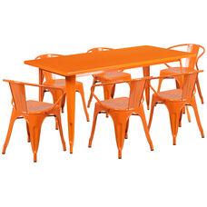 "Commercial Grade 31.5"" x 63"" Rectangular Orange Metal Indoor-Outdoor Table Set with 6 Arm Chairs"