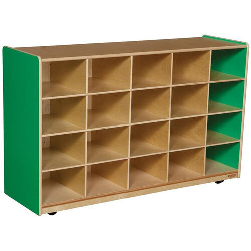 Wooden Mobile Storage Unit with 20 Storage Compartments - Green Apple - 48