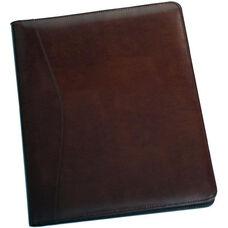 Writing Padfolio Document Organizer - Aristo Bonded Leather - Chestnut