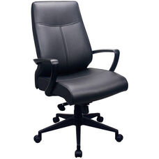 Tempur-Pedic® Leather High Back Chair - Black