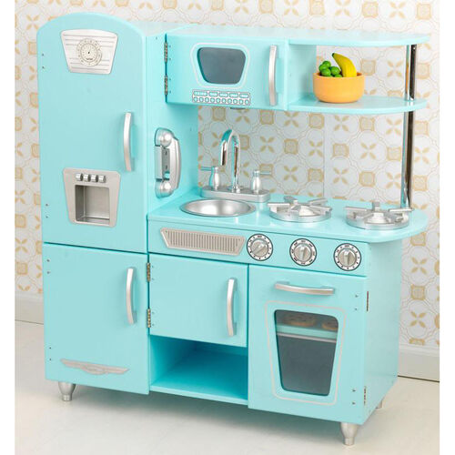 Kids Wooden Make-Believe Simple Kitchen Play Set - Blue