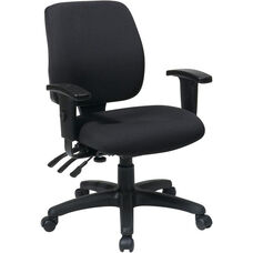 Work Smart Mid Back Dual Function Ergonomic Chair with Back Height Adjustment and Arms - Black