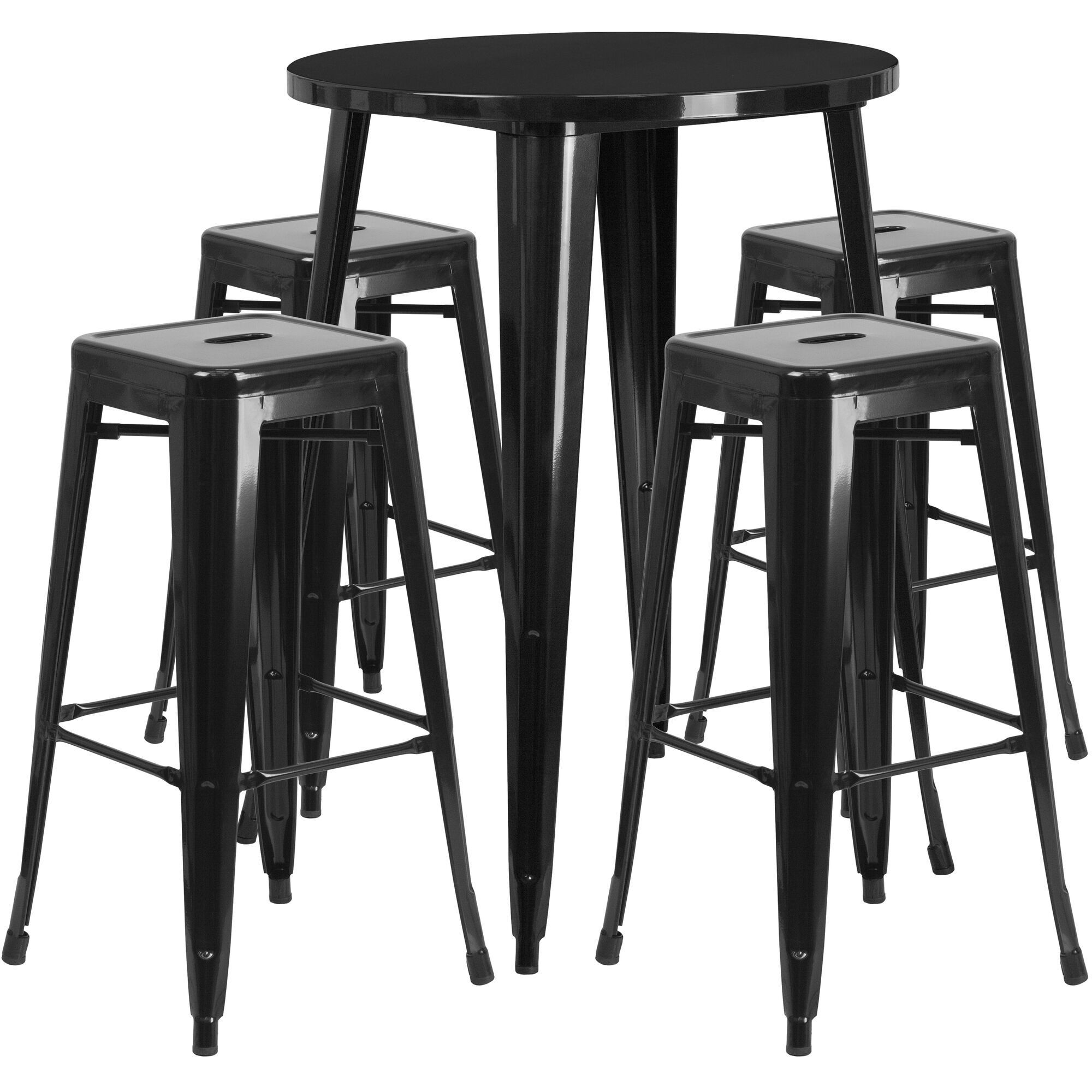 Marvelous Commercial Grade 30 Round Black Metal Indoor Outdoor Bar Table Set With 4 Square Seat Backless Stools Customarchery Wood Chair Design Ideas Customarcherynet