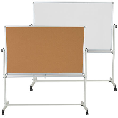 "Our HERCULES Series 53""W x 62.5""H Reversible Mobile Cork Bulletin Board and White Board with Pen Tray is on sale now."