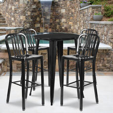 "Commercial Grade 30"" Round Black Metal Indoor-Outdoor Bar Table Set with 4 Vertical Slat Back Stools"