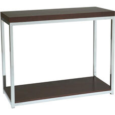 Ave Six Wall Street Wood Veneer Foyer Table with Chrome Finished Steel Base - Espresso