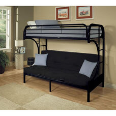 Eclipse XL Twin Over Queen Futon C - Style Metal Bunk Bed - with Built In Side Ladder - Black