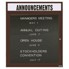 1 Door Outdoor Enclosed Directory Board with Header and Bronze Anodized Aluminum Frame - 36