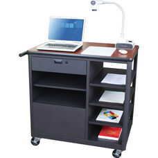 Vizion Presenter Mobile Teacher Workstation with Acrylic Door and Four Side Shelves - Cherry Laminate