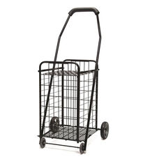 Durable Steel Rolling Utility Cart with Soft Grip Foam Handle - Black