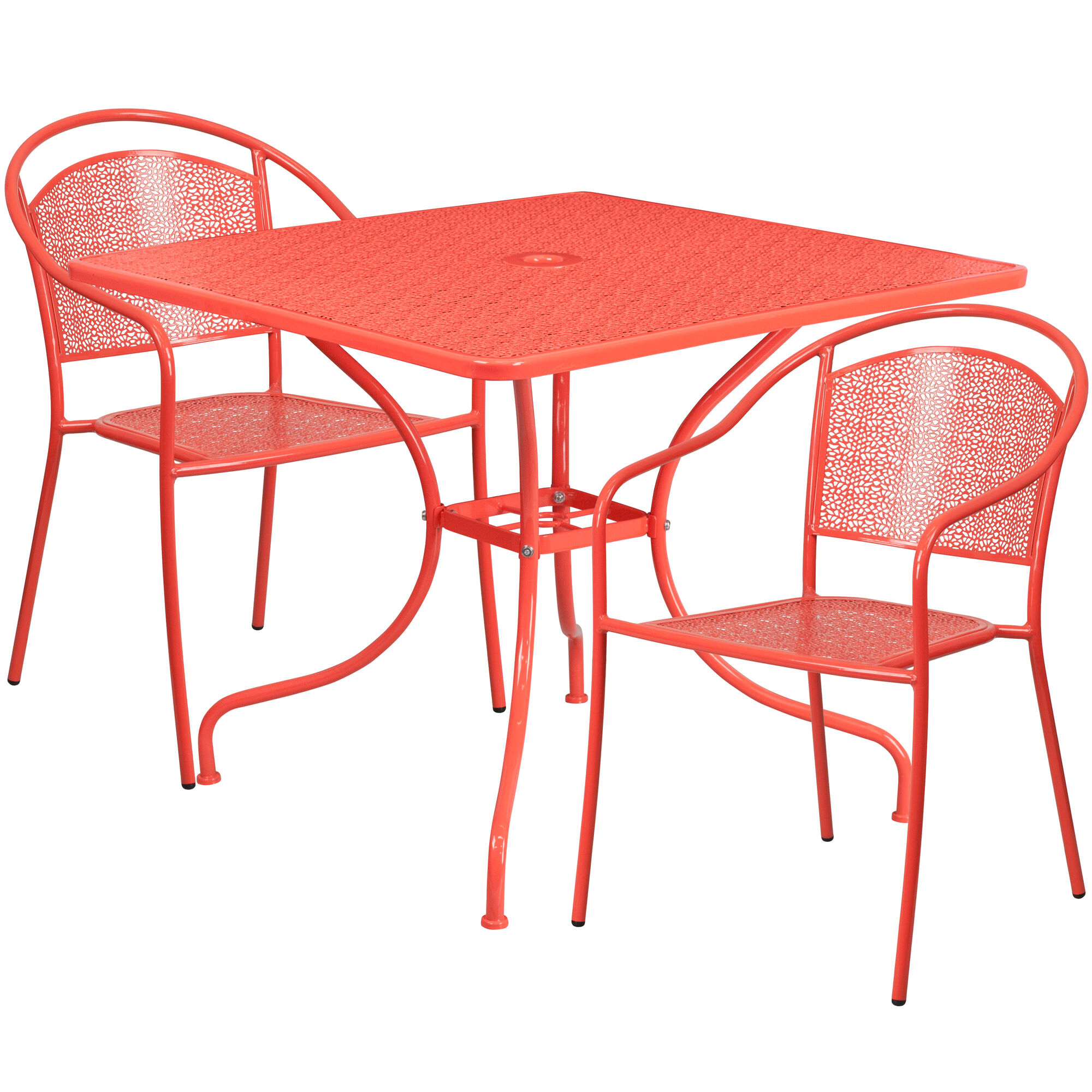 Flash furniture 35 5 39 39 square coral indoor outdoor steel for Furniture 35