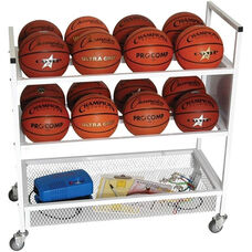 Double Wide Ball Cart with Storage Shelf