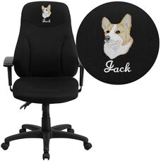 Embroidered High Back Black Fabric Multifunction Swivel Ergonomic Task Office Chair with Adjustable Arms