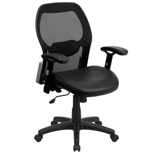 Our Mid-Back Black Super Mesh Executive Swivel Office Chair with Leather Seat and Adjustable Lumbar & Arms is on sale now.