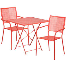 "Commercial Grade 28"" Square Coral Indoor-Outdoor Steel Folding Patio Table Set with 2 Square Back Chairs"