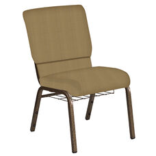 Embroidered 18.5''W Church Chair in Mainframe Brushed Gold Fabric with Book Rack - Gold Vein Frame