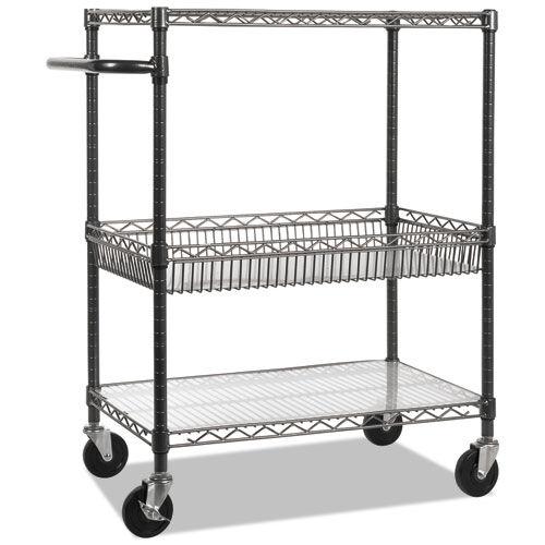 Alera® Three-Tier Wire Rolling Cart - 28w x 16d x 39h - Black Anthracite