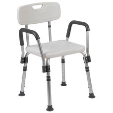HERCULES Series 300 Lb. Capacity Adjustable White Bath & Shower Chair with Quick Release Back & Arms