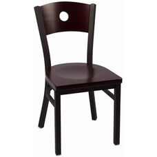Circle Series Wood Back Armless Chair with Steel Frame and Wood Seat - Mahogany