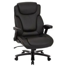 Pro-Line II Big and Tall Deluxe High Back Bonded Leather Executive Office Chair with Padded Flip Arms - 400 lb. Weight Capacity - Black