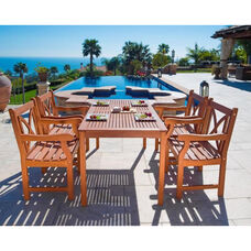 Malibu Outdoor 5 Piece Wood Dining Set with Table and 4 X Back Armchairs